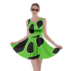Black Green Abstract Shapes A Completely Seamless Tile Able Background Skater Dress