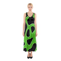 Black Green Abstract Shapes A Completely Seamless Tile Able Background Sleeveless Maxi Dress