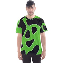 Black Green Abstract Shapes A Completely Seamless Tile Able Background Men s Sport Mesh Tee