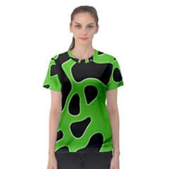 Black Green Abstract Shapes A Completely Seamless Tile Able Background Women s Sport Mesh Tee
