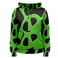 Black Green Abstract Shapes A Completely Seamless Tile Able Background Women s Pullover Hoodie
