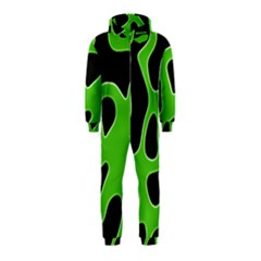 Black Green Abstract Shapes A Completely Seamless Tile Able Background Hooded Jumpsuit (Kids)
