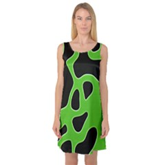 Black Green Abstract Shapes A Completely Seamless Tile Able Background Sleeveless Satin Nightdress