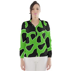 Black Green Abstract Shapes A Completely Seamless Tile Able Background Wind Breaker (Women)