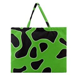 Black Green Abstract Shapes A Completely Seamless Tile Able Background Zipper Large Tote Bag