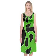 Black Green Abstract Shapes A Completely Seamless Tile Able Background Midi Sleeveless Dress