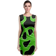 Black Green Abstract Shapes A Completely Seamless Tile Able Background Classic Sleeveless Midi Dress