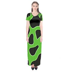 Black Green Abstract Shapes A Completely Seamless Tile Able Background Short Sleeve Maxi Dress