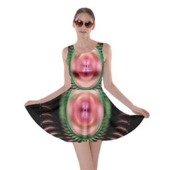Fractal Plate Like Image In Pink Green And Other Colours Skater Dress