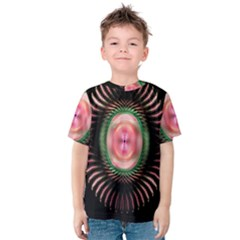 Fractal Plate Like Image In Pink Green And Other Colours Kids  Cotton Tee