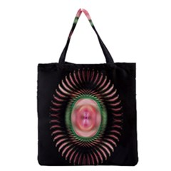 Fractal Plate Like Image In Pink Green And Other Colours Grocery Tote Bag