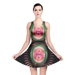 Fractal Plate Like Image In Pink Green And Other Colours Reversible Skater Dress