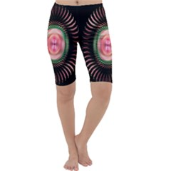 Fractal Plate Like Image In Pink Green And Other Colours Cropped Leggings