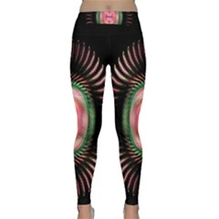 Fractal Plate Like Image In Pink Green And Other Colours Classic Yoga Leggings