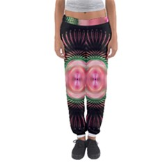 Fractal Plate Like Image In Pink Green And Other Colours Women s Jogger Sweatpants