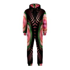 Fractal Plate Like Image In Pink Green And Other Colours Hooded Jumpsuit (Kids)