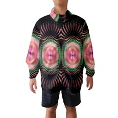 Fractal Plate Like Image In Pink Green And Other Colours Wind Breaker (kids)