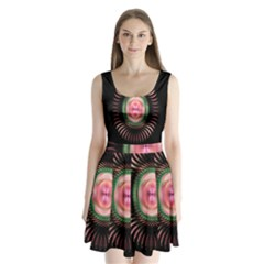 Fractal Plate Like Image In Pink Green And Other Colours Split Back Mini Dress