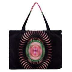 Fractal Plate Like Image In Pink Green And Other Colours Medium Zipper Tote Bag
