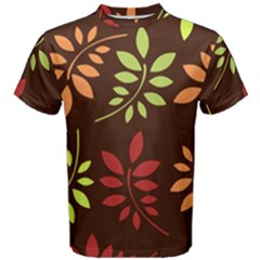 Leaves Wallpaper Pattern Seamless Autumn Colors Leaf Background Men s Cotton Tee