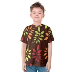 Leaves Wallpaper Pattern Seamless Autumn Colors Leaf Background Kids  Cotton Tee
