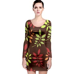 Leaves Wallpaper Pattern Seamless Autumn Colors Leaf Background Long Sleeve Bodycon Dress