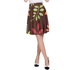 Leaves Wallpaper Pattern Seamless Autumn Colors Leaf Background A-Line Skirt