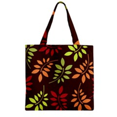 Leaves Wallpaper Pattern Seamless Autumn Colors Leaf Background Zipper Grocery Tote Bag