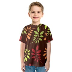 Leaves Wallpaper Pattern Seamless Autumn Colors Leaf Background Kids  Sport Mesh Tee