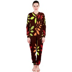 Leaves Wallpaper Pattern Seamless Autumn Colors Leaf Background Onepiece Jumpsuit (ladies)