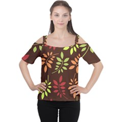 Leaves Wallpaper Pattern Seamless Autumn Colors Leaf Background Women s Cutout Shoulder Tee
