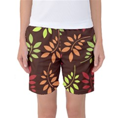 Leaves Wallpaper Pattern Seamless Autumn Colors Leaf Background Women s Basketball Shorts
