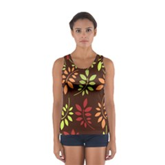 Leaves Wallpaper Pattern Seamless Autumn Colors Leaf Background Women s Sport Tank Top