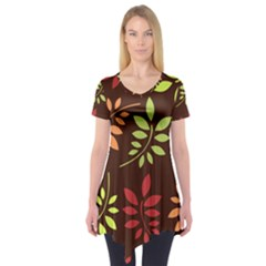 Leaves Wallpaper Pattern Seamless Autumn Colors Leaf Background Short Sleeve Tunic