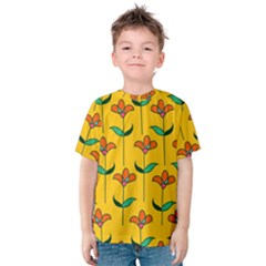 Small Flowers Pattern Floral Seamless Vector Kids  Cotton Tee