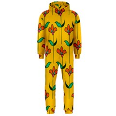 Small Flowers Pattern Floral Seamless Vector Hooded Jumpsuit (Men)