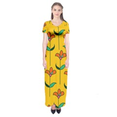 Small Flowers Pattern Floral Seamless Vector Short Sleeve Maxi Dress