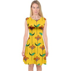 Small Flowers Pattern Floral Seamless Vector Capsleeve Midi Dress