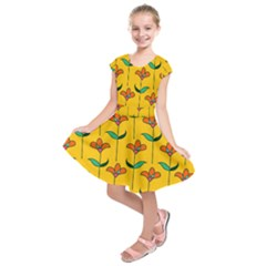 Small Flowers Pattern Floral Seamless Vector Kids  Short Sleeve Dress