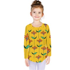 Small Flowers Pattern Floral Seamless Vector Kids  Long Sleeve Tee