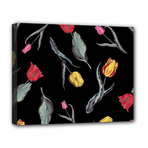 Colorful Tulip Wallpaper Pattern Background Pattern Wallpaper Deluxe Canvas 20  x 16