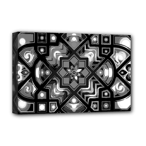Geometric Line Art Background In Black And White Deluxe Canvas 18  X 12