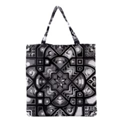 Geometric Line Art Background In Black And White Grocery Tote Bag