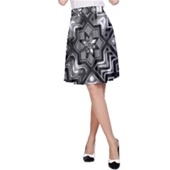 Geometric Line Art Background In Black And White A-Line Skirt