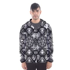 Geometric Line Art Background In Black And White Hooded Wind Breaker (Men)