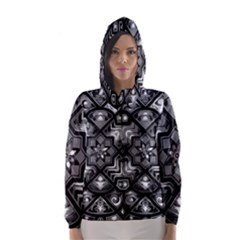 Geometric Line Art Background In Black And White Hooded Wind Breaker (women)