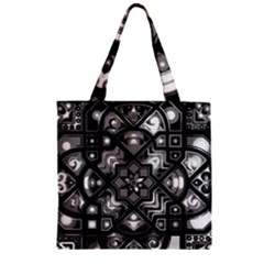 Geometric Line Art Background In Black And White Zipper Grocery Tote Bag