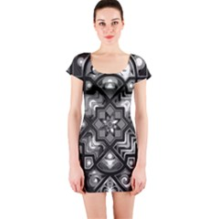 Geometric Line Art Background In Black And White Short Sleeve Bodycon Dress