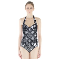 Geometric Line Art Background In Black And White Halter Swimsuit