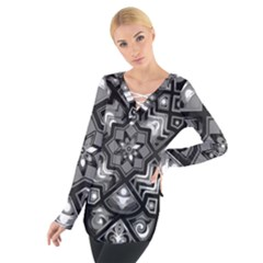 Geometric Line Art Background In Black And White Women s Tie Up Tee